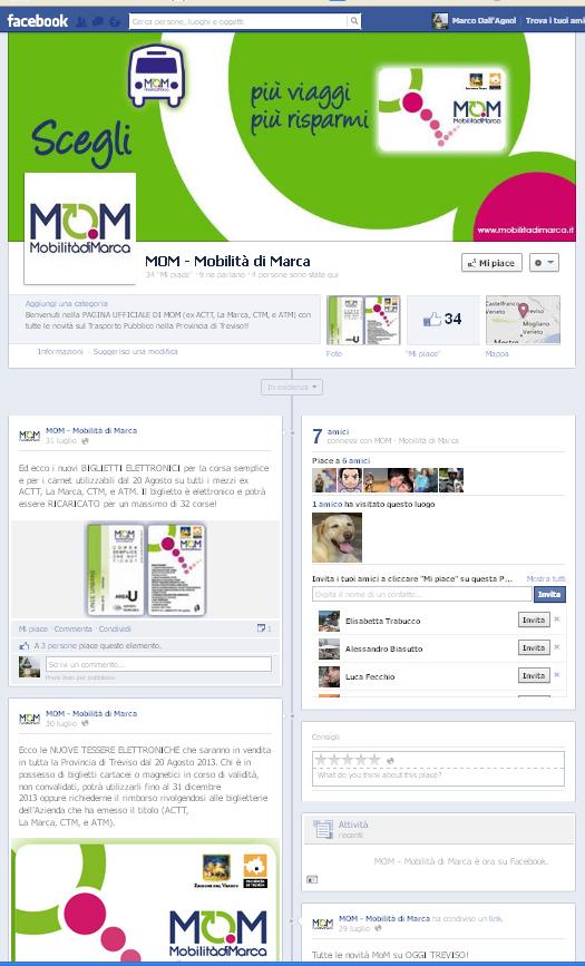 pagina Facebook Mobilità di Marca